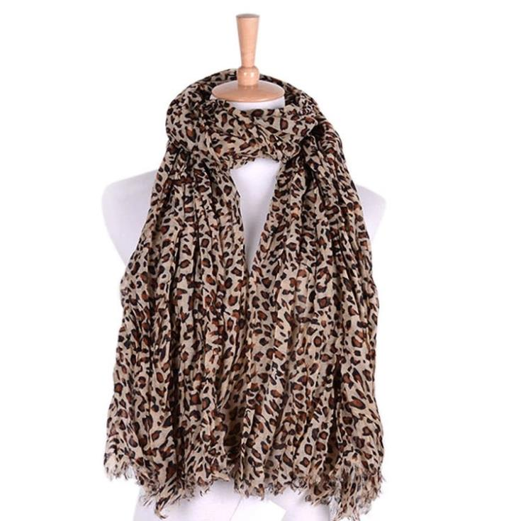 Free Shipping 2015 New Fashion Fall and Winter Wrinkled Leopard Printed Scarves Shawl Wrap For Women /Ladies(China (Mainland))