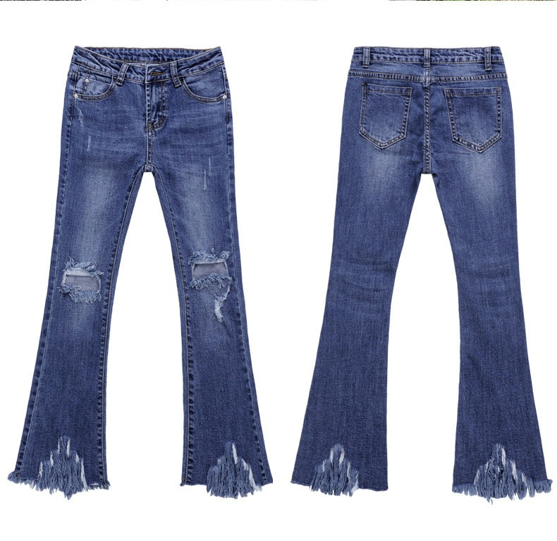 high quality Jeans Women's ripped Flare Pants jeans Fashion women jeans for woman hole denim pants Ankle-Length pants F5509