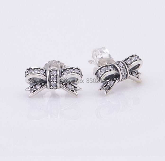 fits for pandora bracelet sparkling bow silver earring new