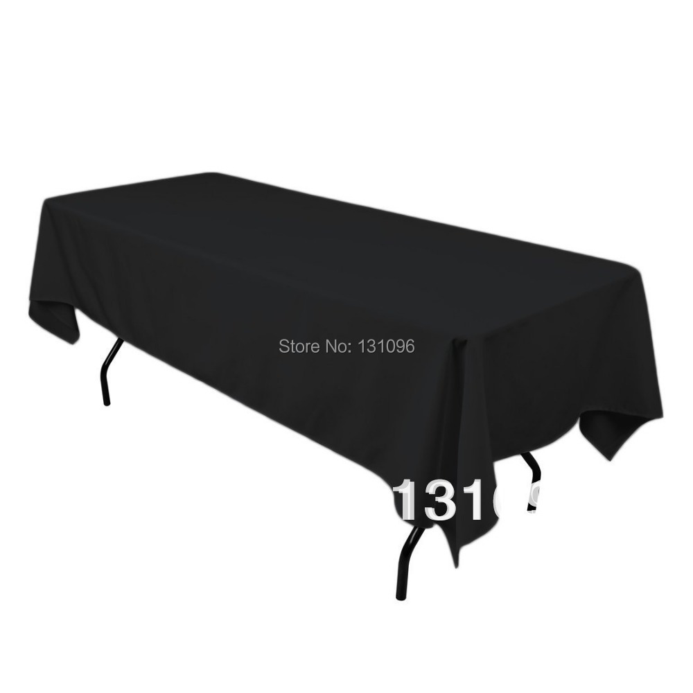 Black 12 feet x 147cm Satin Table Cloth For Wedding Event &Party &Hotel &Resturant Decoration(China (Mainland))