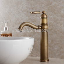 Free shipping luxury antique bathroom faucet,hot and cold basin taps,classic brass brushed bathroom vessel mixer faucet-KF20