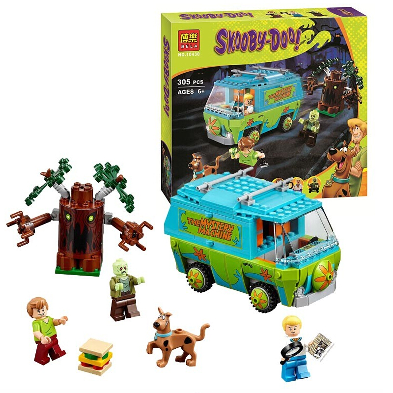 Bela 305Pcs Scooby Doo The Mystery Machine Building Block set Fred Shaggy Zombie minifigures Kids Toy Compatible with Legoes