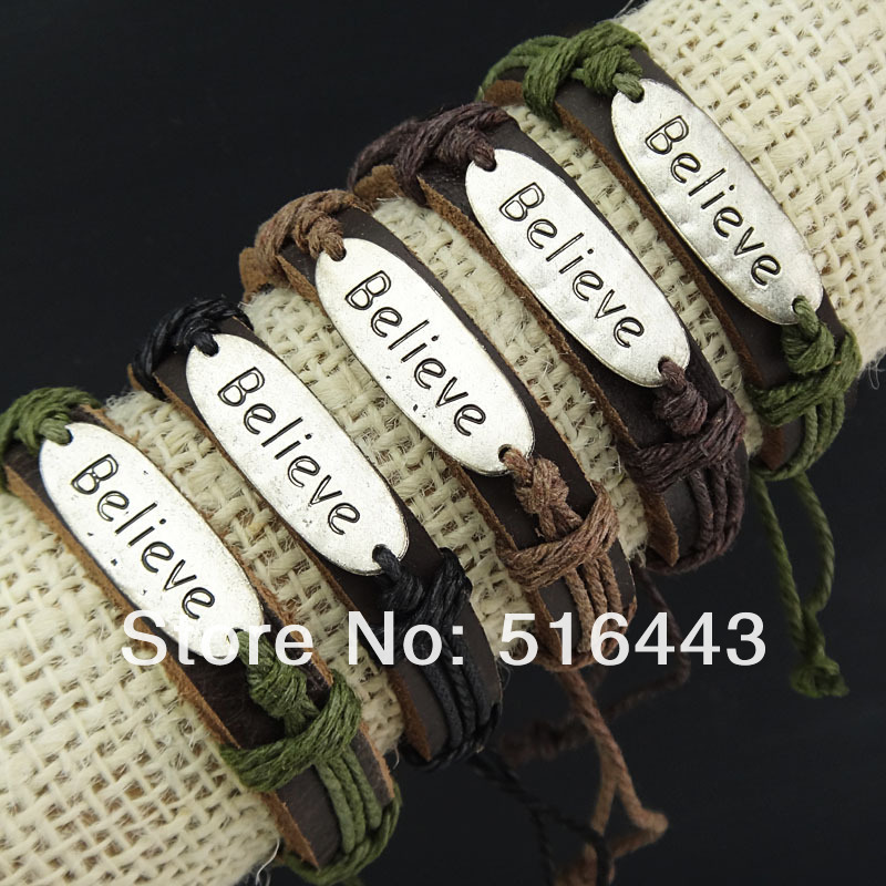 6pcs Wholesale Fashion Jewelry Lots Leather Antique Silver Plated Believe Women Mens Bracelets Bangles A-776(China (Mainland))