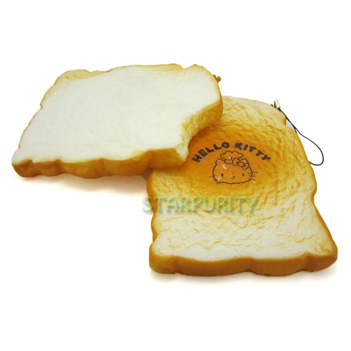 1Pc Jumbo Squishy Bite Toast Slice Bread Phone Charm Bag Strap Hand Pad Kids Toy Home Decor(China (Mainland))