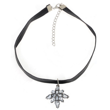 Buy 10Pcs/lot Gothic Punk Crystal Choker Collar Necklace&Pendant Crystal Flower Black Leather Rope Chain Choker Necklaces Women for $9.56 in AliExpress store