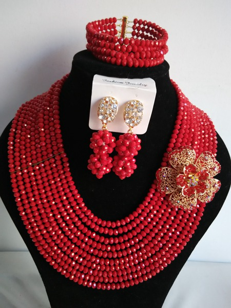 Classic nigerian wedding red african beads jewelry set crystal beads bride jewelry set GG-1026<br><br>Aliexpress