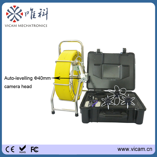 Factory price ! Free shipping 60meter self levelling color cmos waterproof sewer pipe inspection camera with DVR function(China (Mainland))