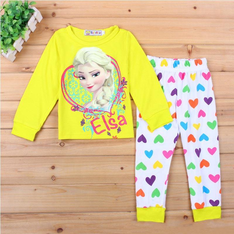 2015 Brand Cartoon Cotton Pijamas Kids Baby Girls Pajamas Set Spring Autumn Sleepwear Children Pyjamas pijama