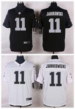 Oakland Raiders #11 Sebastian Janikowski Elite White and Black Team Color high-quality free shipping(China (Mainland))