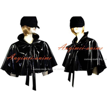 Free Shipping Sissy Maid Gothic Lolita Punk Black Pvc Cape Cosplay Costume Custom-made