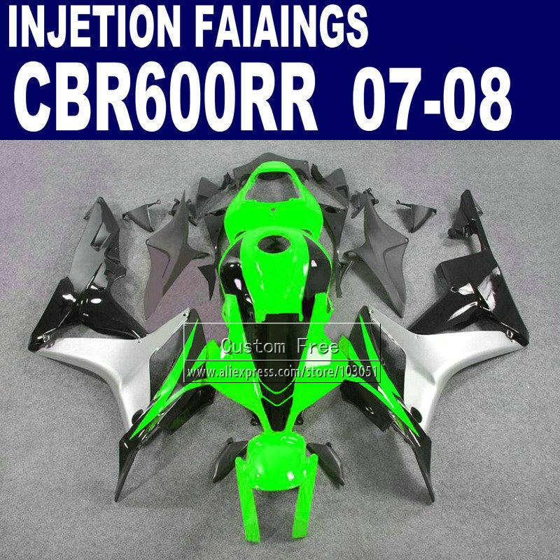 ABS Injection fairings kits for Honda 600 RR F5 fairing set 07 08 CBR 600RR CBR 600 RR 2007 2008 green silver motorcycle parts(China (Mainland))