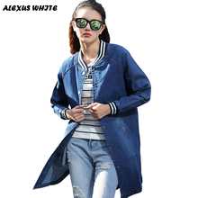 Denim Jacket Women 2016 Autumn Slim Long Sleeved Jeans Coat Fashion Female Outwear Ripped For Woman(China (Mainland))