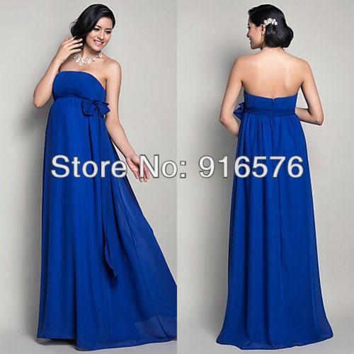Royal blue empire sash bow casual wedding dresses floor for Royal blue plus size wedding dresses
