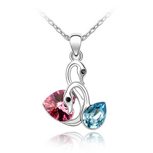 Crystal pendant necklace pendant accessories female chain short design swan lake necklace