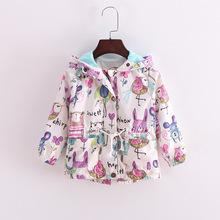 baby girl clothes cute children kids clothing fashion  full sleeve graffiti coat loose cozy 2-7 yrs 2016 summer new coat (China (Mainland))
