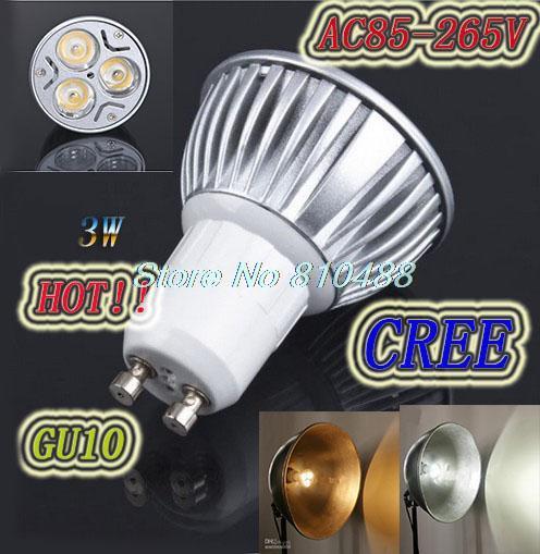 Dimming 85-265V 3W GU10 led lamp Warm White/White LED Lamp Bulb Spotlight LED Spot light Free Shipping(China (Mainland))