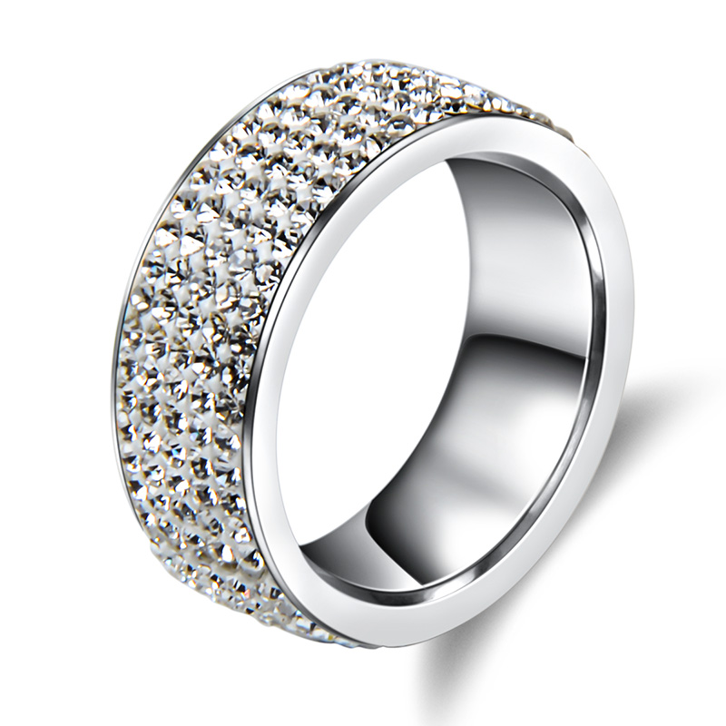 5 Rows Crystal Stainless Steel Ring Women for Elegant Full Finger Love Wedding Rings Jewelry(China (Mainland))