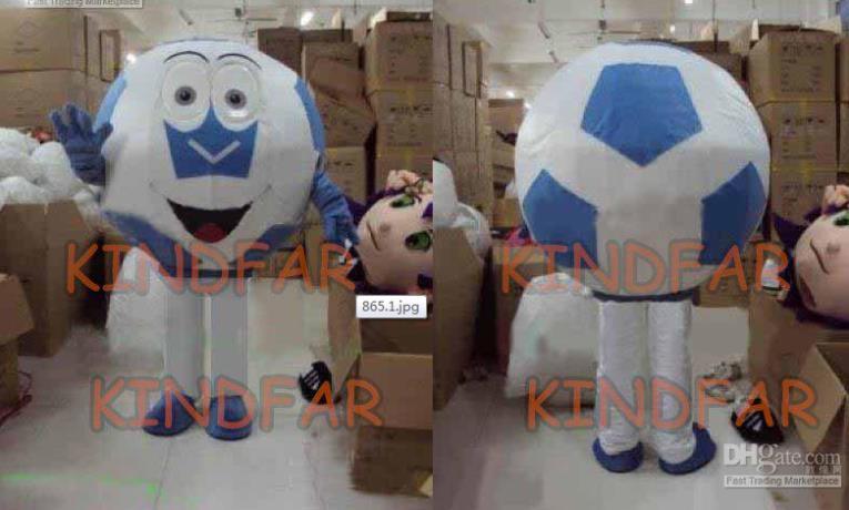 Hot sale 2014 Adult New Blue Soccer Ball Mascot Costume Football Foot-ball Fancy Dress Cartoon Outfits(China (Mainland))