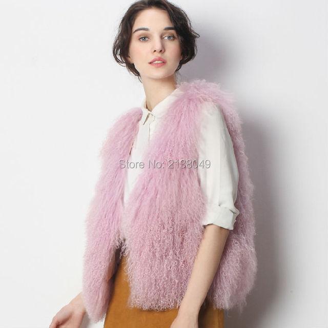 Fv04301 женщин реального монголии овец широкий талией регулярный рукавов о шея жилеты