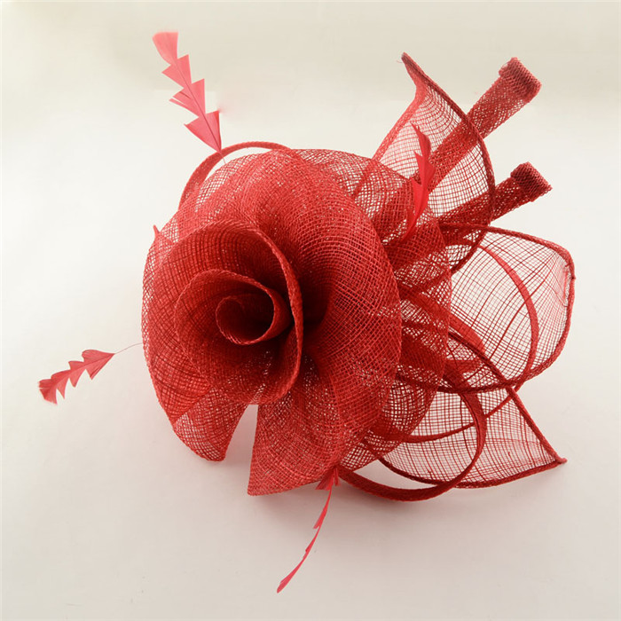 Flower Hair Fscinators Women Hair Accessories Bride Wedding Hats for Weddings and Patry White/Balck/Red/Purple/Gray 120mm(China (Mainland))
