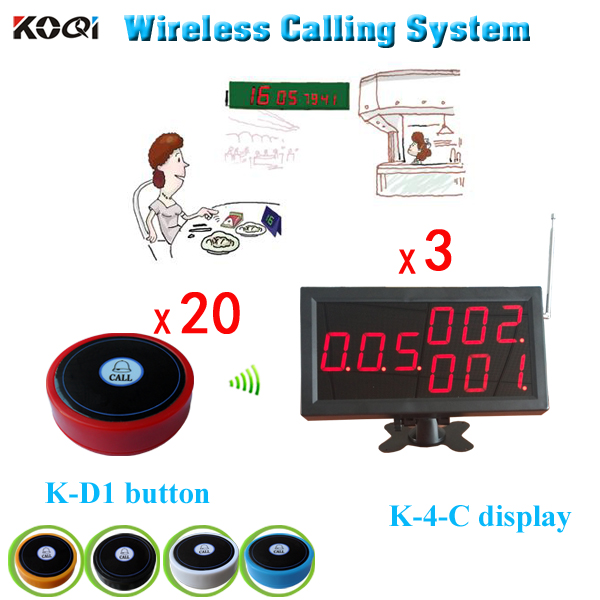 Free Shipping Restaurant Paging System Call Waiters 3pcs Big Led Screen And 20pcs Call Button(China (Mainland))