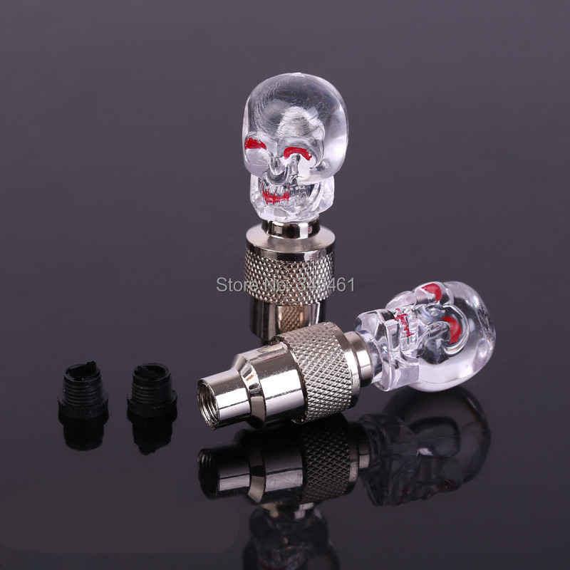 10Skull valve cap wheel lamp Mountain bike safety Bicycle LIght red/ blue/ green/colorful Led Gas nozzle lights