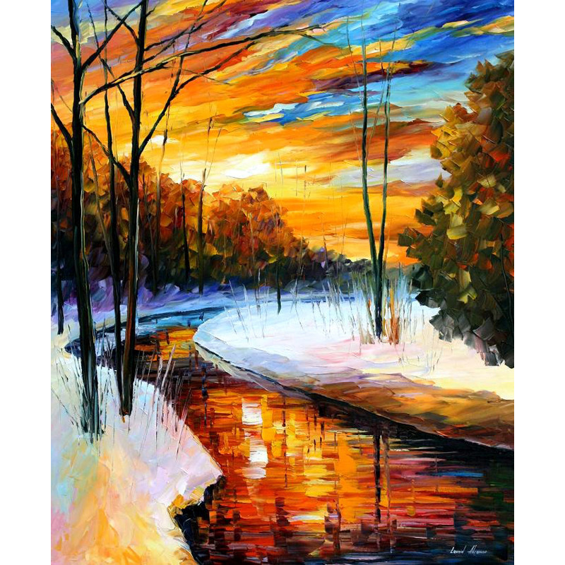 Buy 100%Handmade Modern Palette Knife landscape Oil Painting On Canvas Art Pictures For Room Decor Wall Paintings No Frame cheap