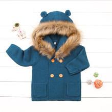 Зимние теплые для детей, Детский свитер с меховым капюшоном, съемный серый вязаный кардиган для маленьких мальчиков и девочек, Детская осен...(China)