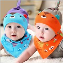 0-8Month Baby Cap&Bibs Suit  Cotton One Sets Cute Teddy Bear Cartoon Caps Triangle Towel Bibs Newborn Infant baby Hats&bibs Sets(China (Mainland))