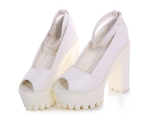 2015 new women shoes summer style sandals Rome fish mouth shoe buckle high-heeled thick waterproof platform fashion sexy DZD851