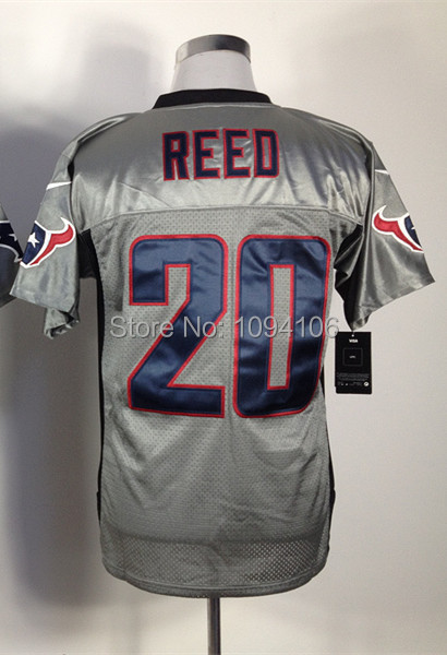 #20 Ed Reed Jersey Grey Shadow 2014 New Elite Men's Authentic Stitched Football Jerseys Mix Order Cheap Free Shipping(China (Mainland))