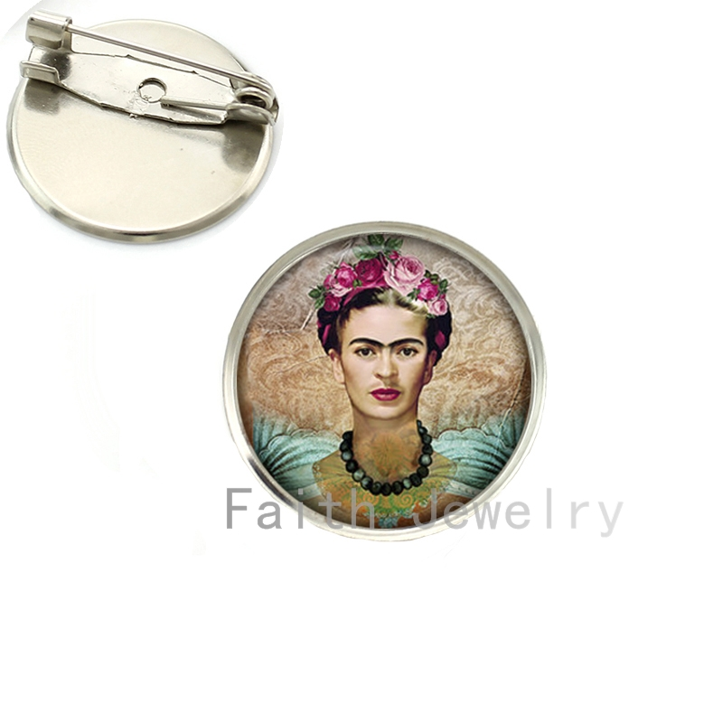 Wholesale Cheap good quality brooch pins Frida Kahlo painting brooches charm feminist jewelry silver plated handmade gift NS122(China (Mainland))