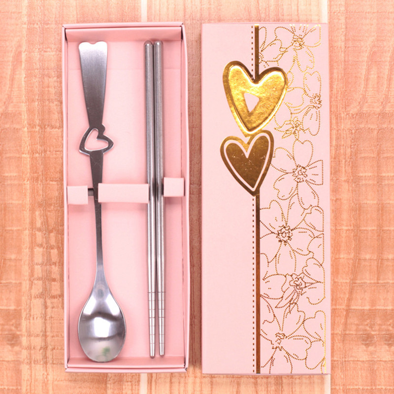 10sets Love Small Gifts Wedding Favor for Guests Creative Portable Stainless Steel Tableware Spoon Chopsticks Suit(China (Mainland))
