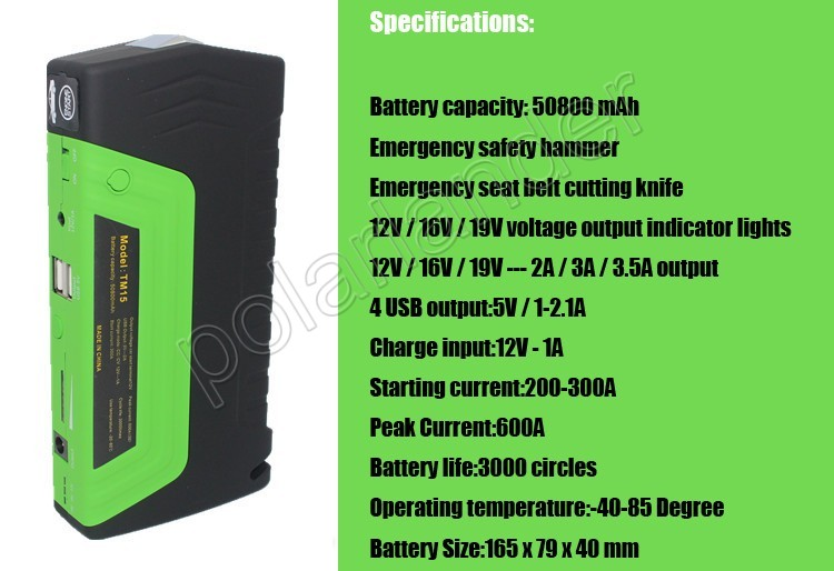 Car jump starter  High quality 50800 mAh Car Jump Starter multi-functional  AUTO emergency start power bank free shipping