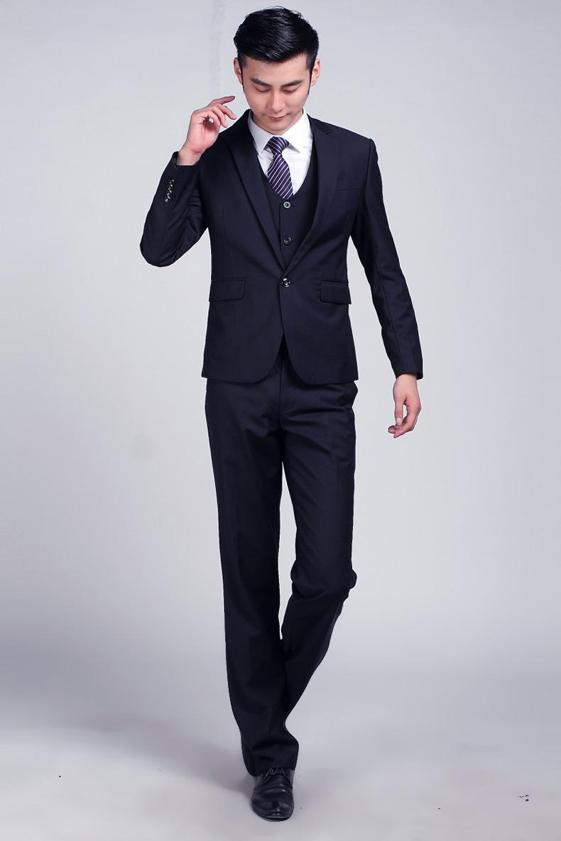2018 Wholesale Dark Blue Formal Wedding Men Suit Set ... - photo#40
