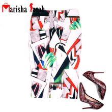 Fashion Sexy Women Print Geometry Bodycon Skirt Elegant Celebrity Party Knee-Length Pencil Tube Career Midi High Waist Skirts