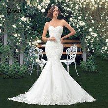 Dressv מקסים Applique כלה שמלות בת ים תחרה שמלות כלה מתוקה חצוצרה באורך רצפת בציר חתונת שמלת ילדה(China)