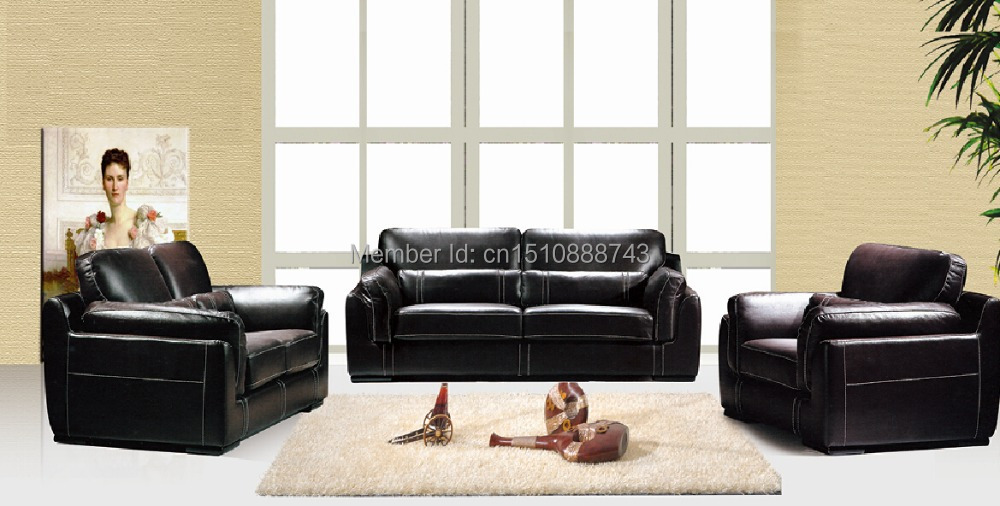 LBZ-3871# Black Leather Sectional Sofa 123 Living Room Leather Sofas(China (Mainland))