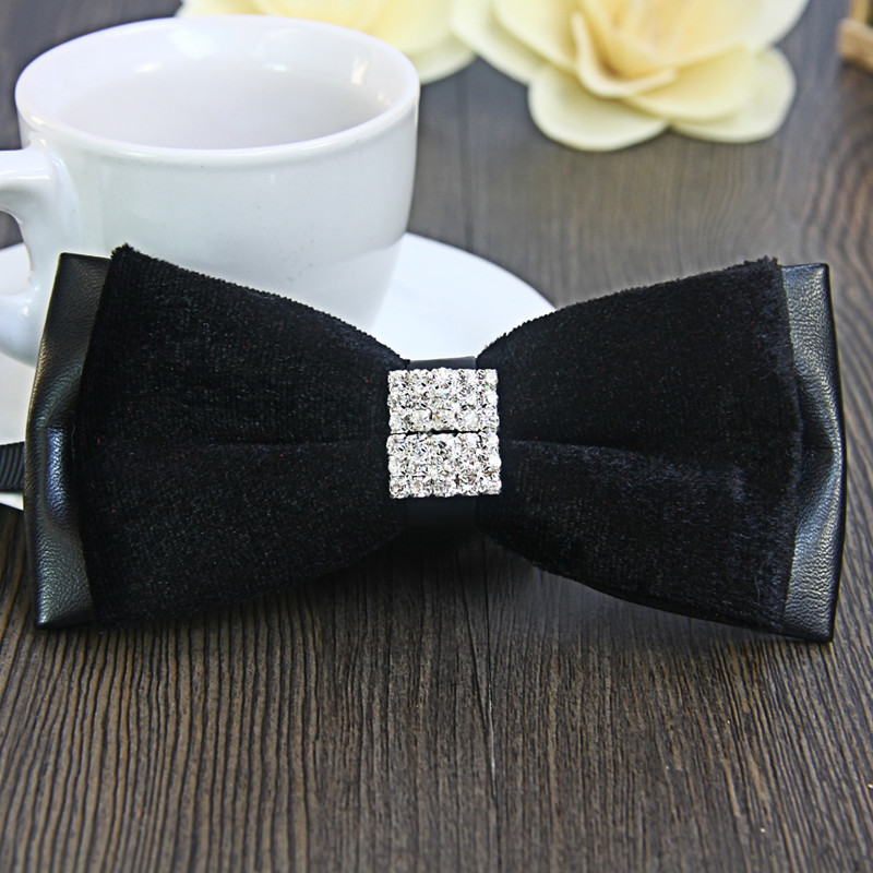 Men high quality velvet bow tie leather groom wedding clothes dress tie dinner Diamond velvet men's luxury temperament nicole(China (Mainland))