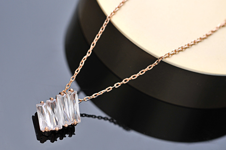 FASHION STYLE Engraved Four Shiny Zircon Rectangles Nice Design Cool Necklace PayPal Accepted(China (Mainland))