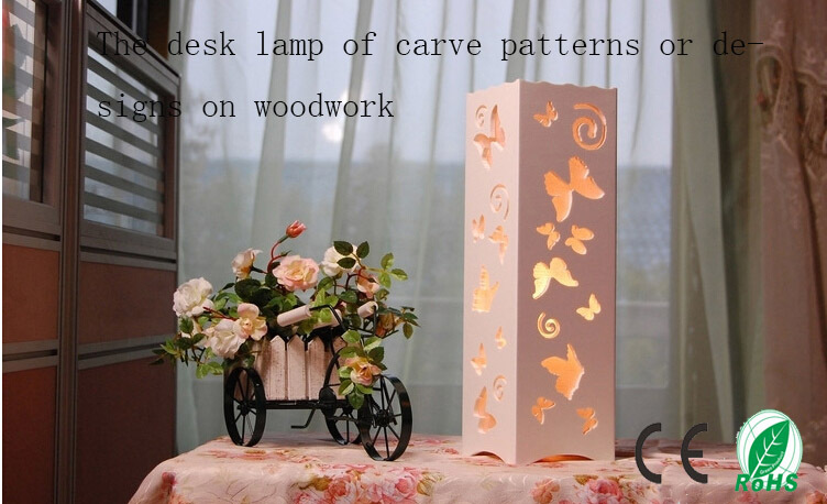 The butterfly of carve patterns or designs on woodwork hollow out modern interior decoration lamp,table lamp,5W LED abajur(China (Mainland))