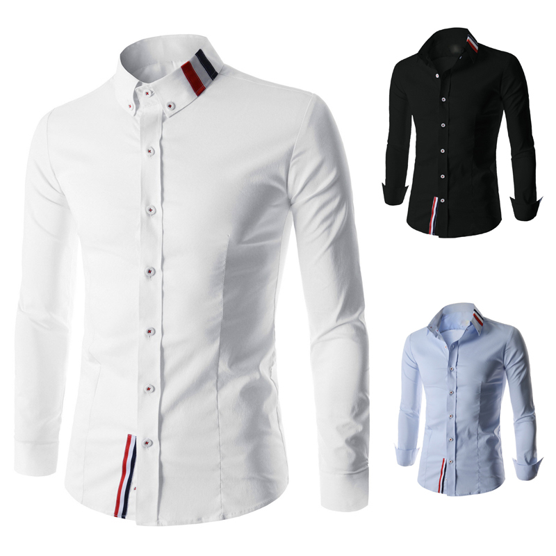 New 2015 Famous Brand Autumn Men Slim Fit 2Color Long Sleeve Shirt Cotton Material Male Solid