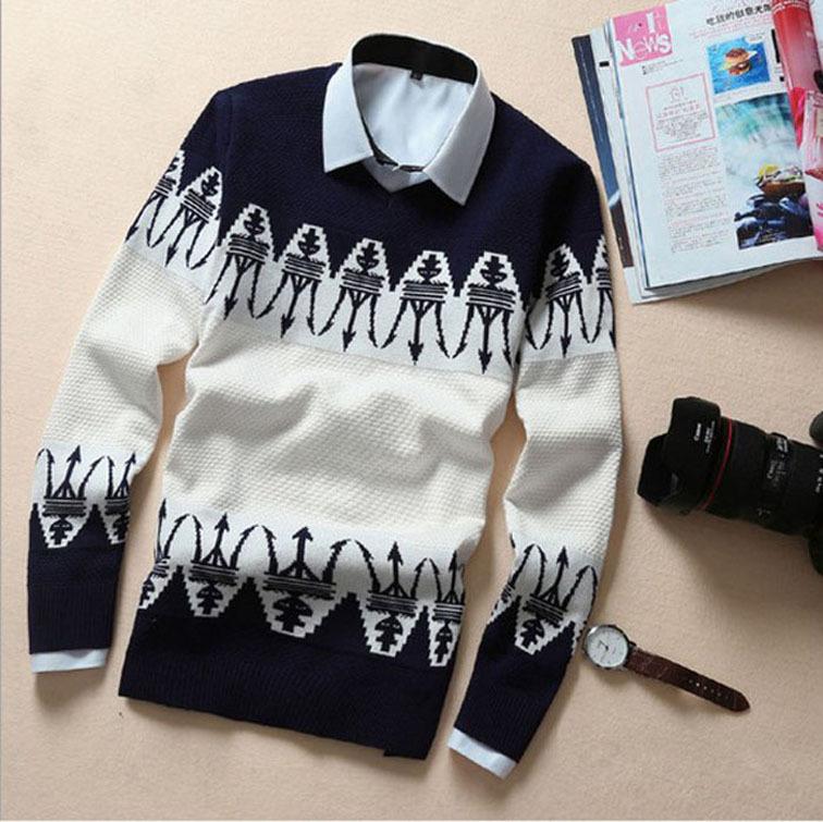 2015 winter pullover mens sweater brand Knitting long sleeve O-Neck slim korean fashion clothing sweater men MY13(China (Mainland))
