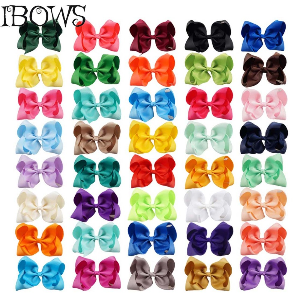 """40Colors 1Pc Girls 5"""" Large Grosgrain Ribbon Kontted Hair Bows With Clips Hairpins Hair Accessories For Childrens(China (Mainland))"""