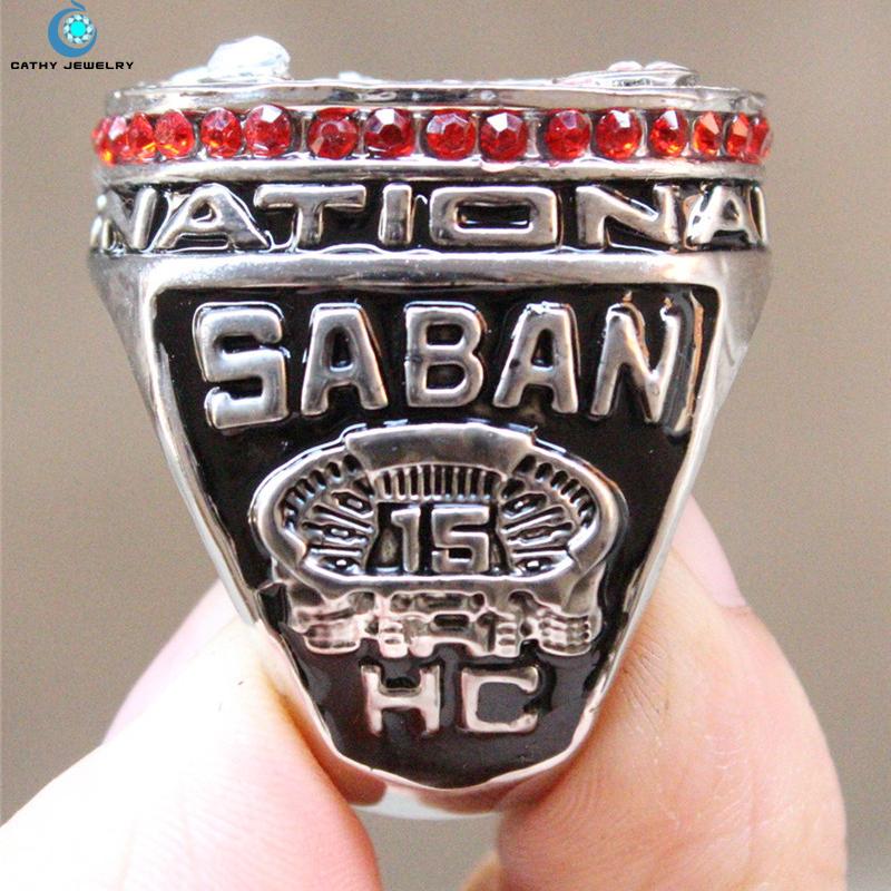 2012 Alabama Crimson Tide NCAA men's soccer national championship rings Black Red Enamal Crystal gold Pleated Ring Men Jewelry(China (Mainland))