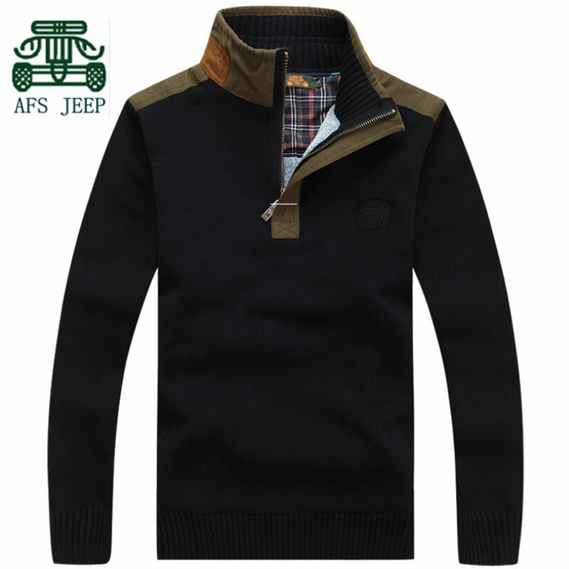 AFS JEEP New Style 2015 Cashmere Inner Men's Pullover Sweater,Full Sleeve Original Brand Man Casual Sports Breather Outwear(China (Mainland))