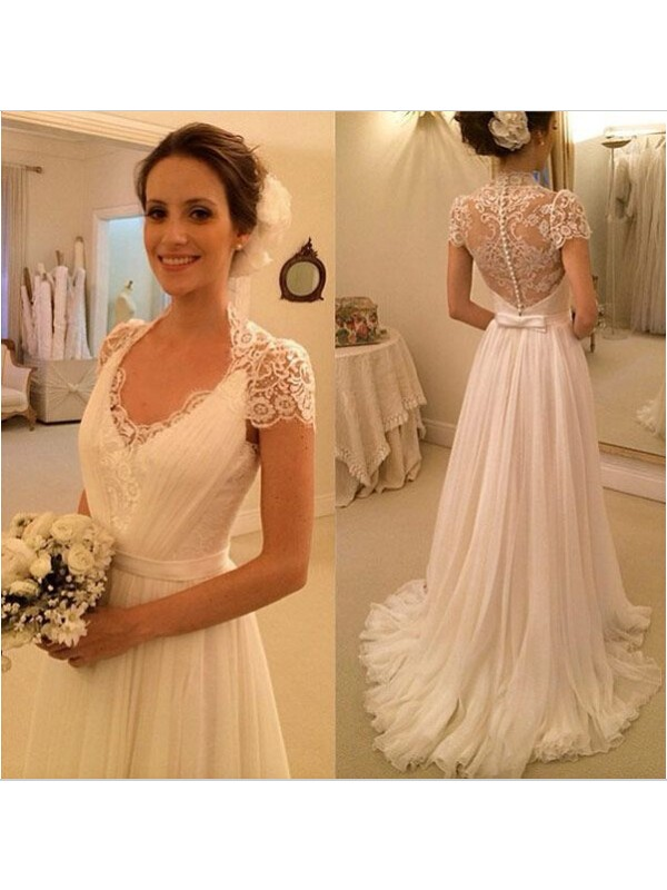 Lace Wedding Dress With Cap Sleeves Style D1919 : Wedding dress bridal gown cap sleeves lace from reliable