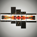 5 piece canvas wall art modern abstract painting black red handmade decorative picture of oil painting