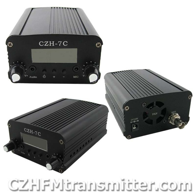 free shipping CZH-5C 5W FM stereo PLL broadcast transmitter 76-108MHZ