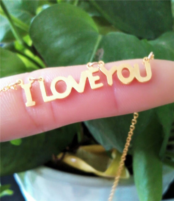 30pcs/lot-2015 Gold/Silver Fine Jewelry PVD Stainless Steel Dainty I Love You Letter Charm Necklace for Women<br><br>Aliexpress